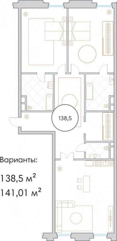 Планировка Трёхкомнатная квартира площадью 138.5 кв.м в ЖК «Софийский»