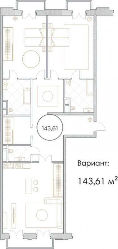Планировка Трёхкомнатная квартира площадью 143.61 кв.м в ЖК «Софийский»