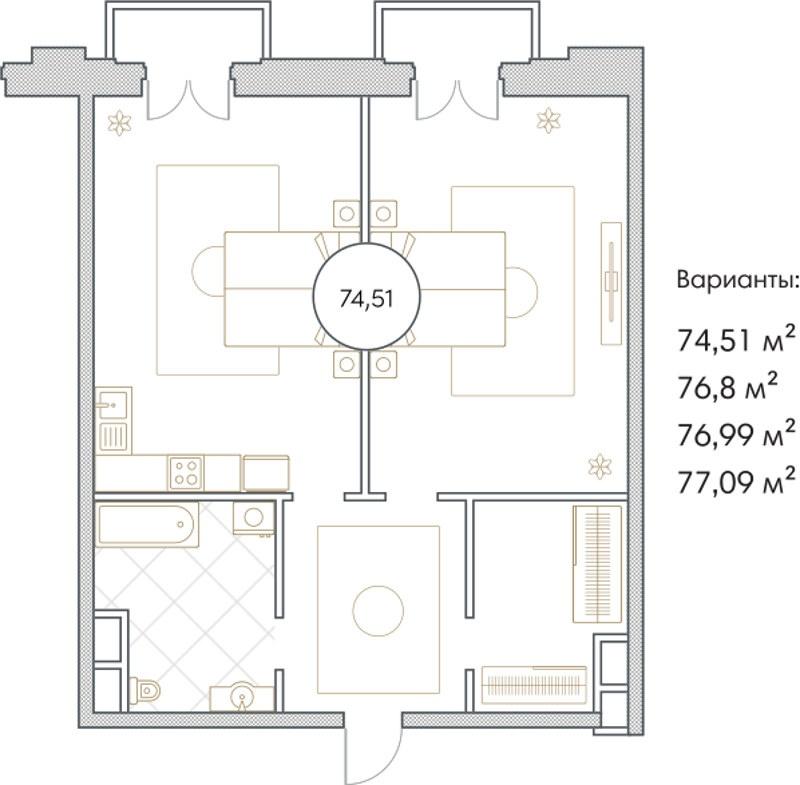 Планировка Двухкомнатная квартира площадью 74.51 кв.м в ЖК «Софийский»