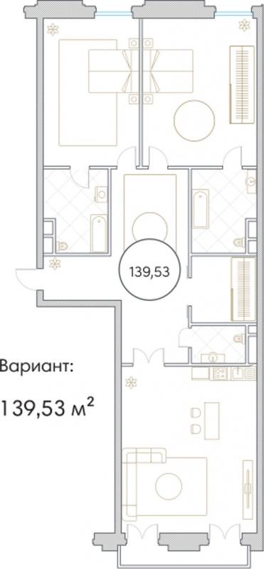 Планировка Трёхкомнатная квартира площадью 139.53 кв.м в ЖК «Софийский»