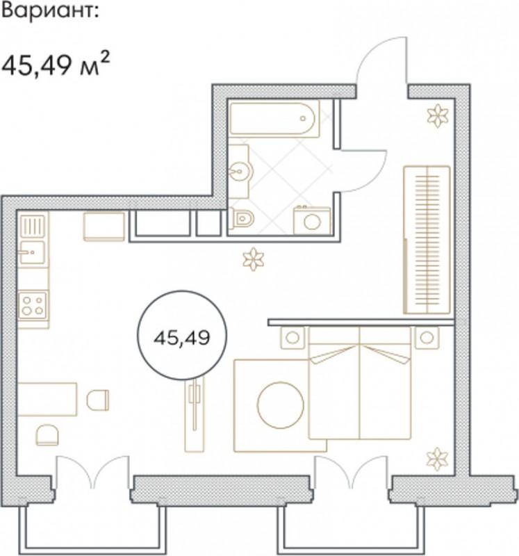 Планировка Однокомнатная квартира площадью 45.49 кв.м в ЖК «Софийский»