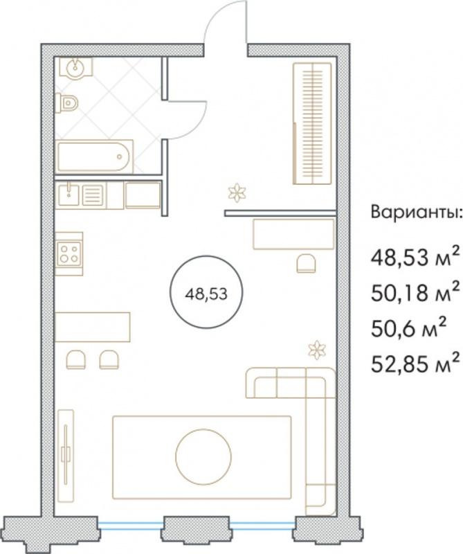 Планировка Однокомнатная квартира площадью 48.53 кв.м в ЖК «Софийский»