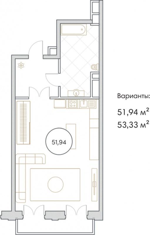 Планировка Однокомнатная квартира площадью 51.94 кв.м в ЖК «Софийский»