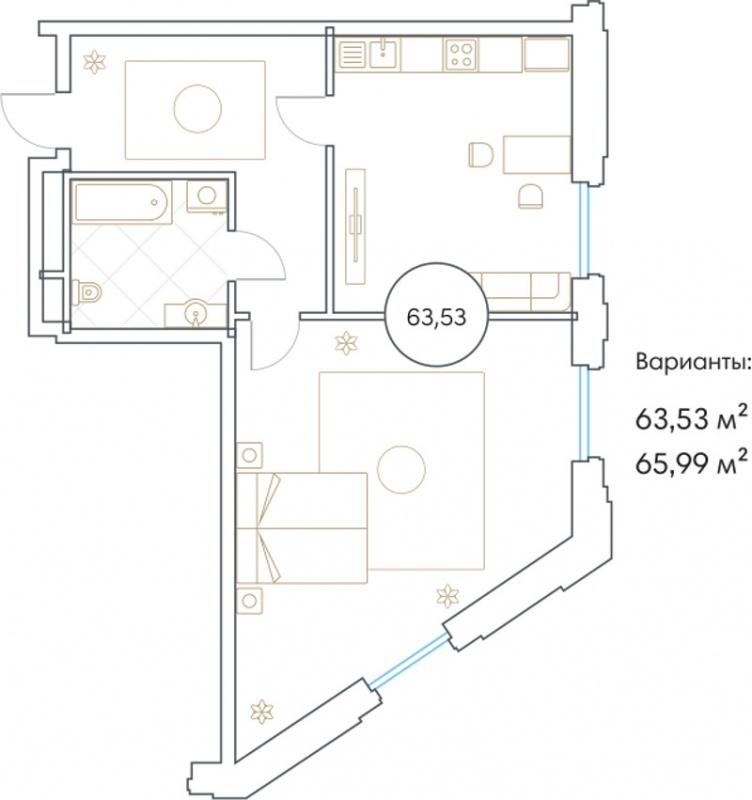 Планировка Двухкомнатная квартира площадью 63.53 кв.м в ЖК «Софийский»