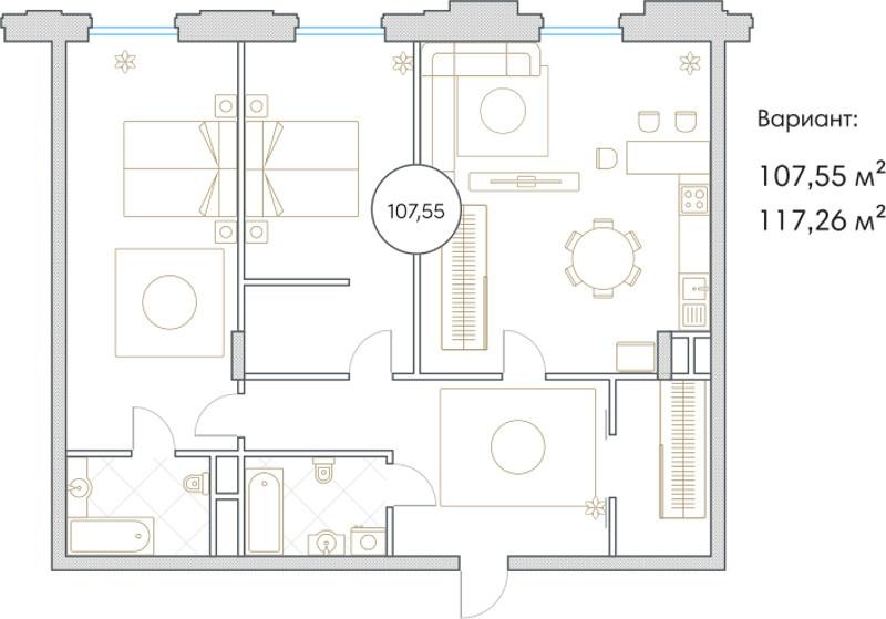 Планировка Трёхкомнатная квартира площадью 107.55 кв.м в ЖК «Софийский»