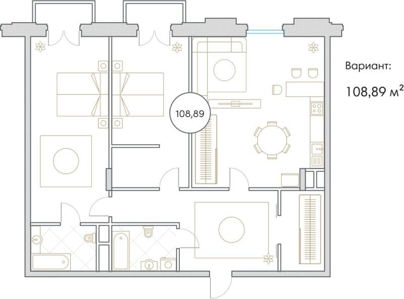Планировка Трёхкомнатная квартира площадью 108.9 кв.м в ЖК «Софийский»