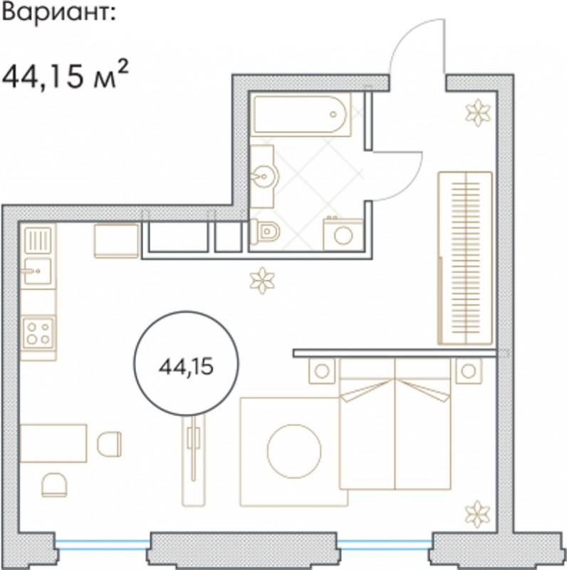 Планировка Однокомнатная квартира площадью 44.15 кв.м в ЖК «Софийский»