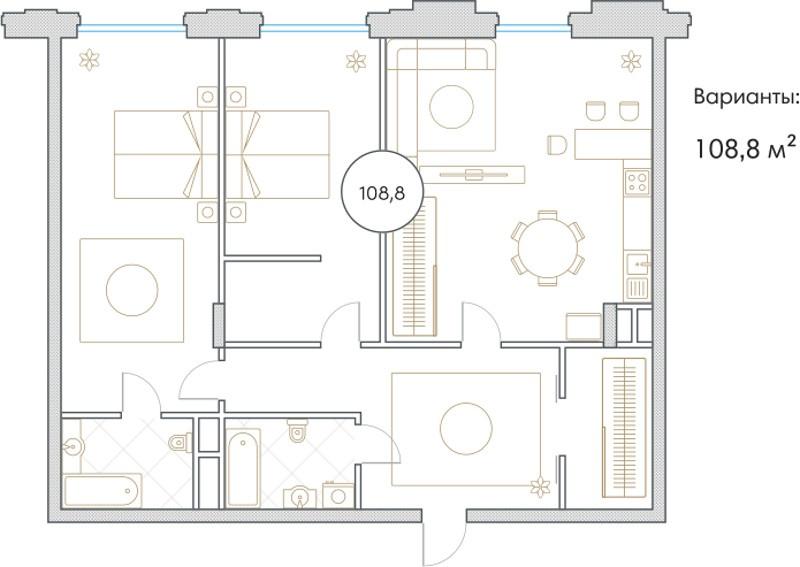 Планировка Трёхкомнатная квартира площадью 108.8 кв.м в ЖК «Софийский»