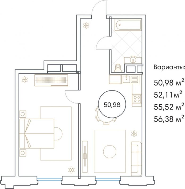 Планировка Двухкомнатная квартира площадью 50.98 кв.м в ЖК «Софийский»