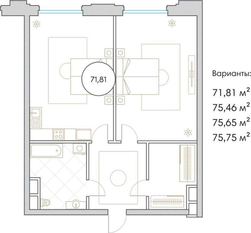 Планировка Двухкомнатная квартира площадью 71.81 кв.м в ЖК «Софийский»