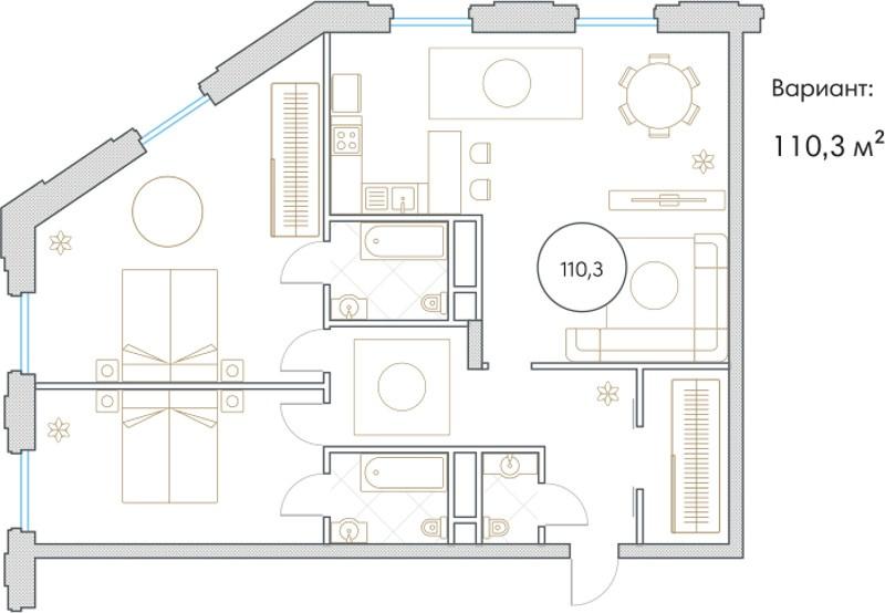 Планировка Трёхкомнатная квартира площадью 110.3 кв.м в ЖК «Софийский»