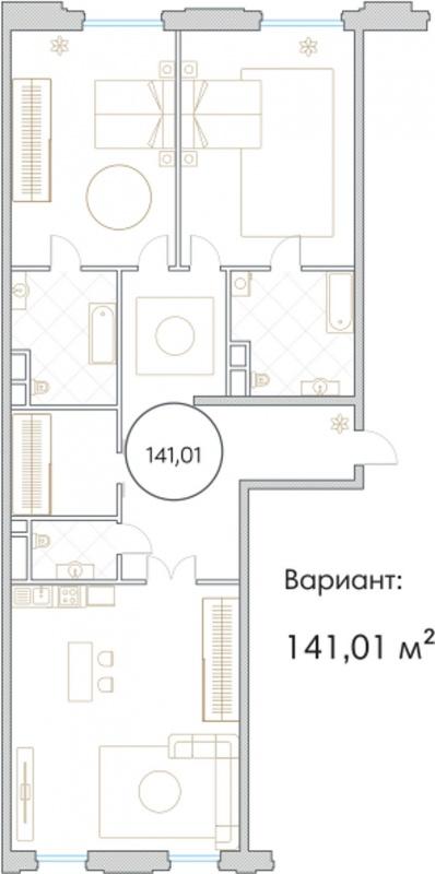 Планировка Трёхкомнатная квартира площадью 141.01 кв.м в ЖК «Софийский»