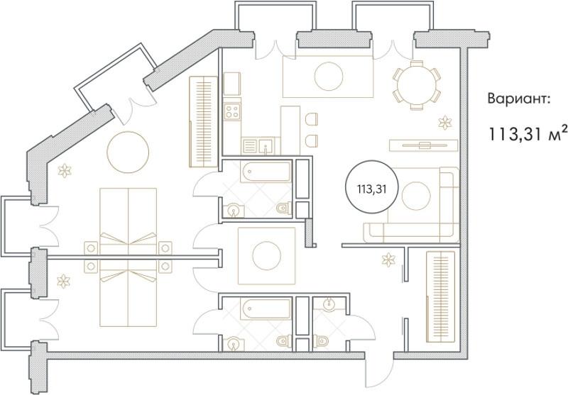 Планировка Трёхкомнатная квартира площадью 113.31 кв.м в ЖК «Софийский»