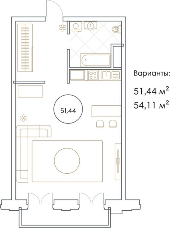 Планировка Однокомнатная квартира площадью 51.44 кв.м в ЖК «Софийский»