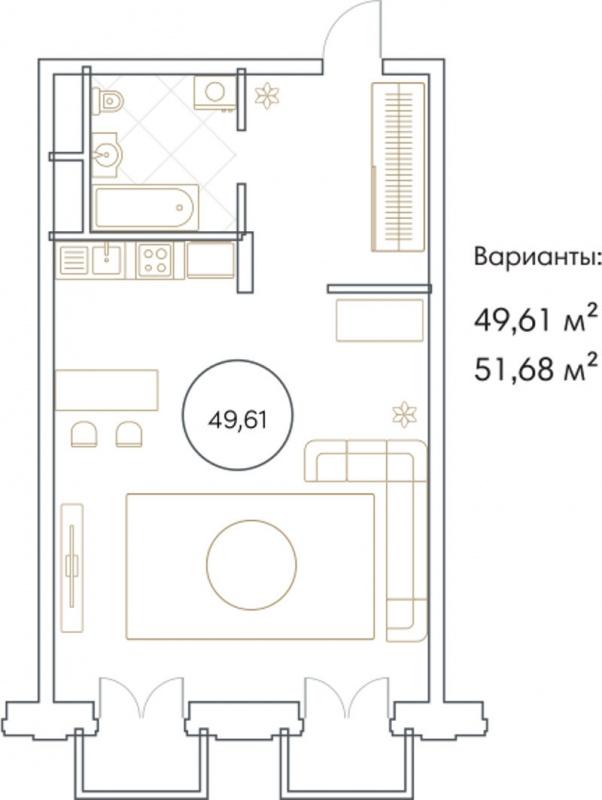 Планировка Однокомнатная квартира площадью 49.61 кв.м в ЖК «Софийский»
