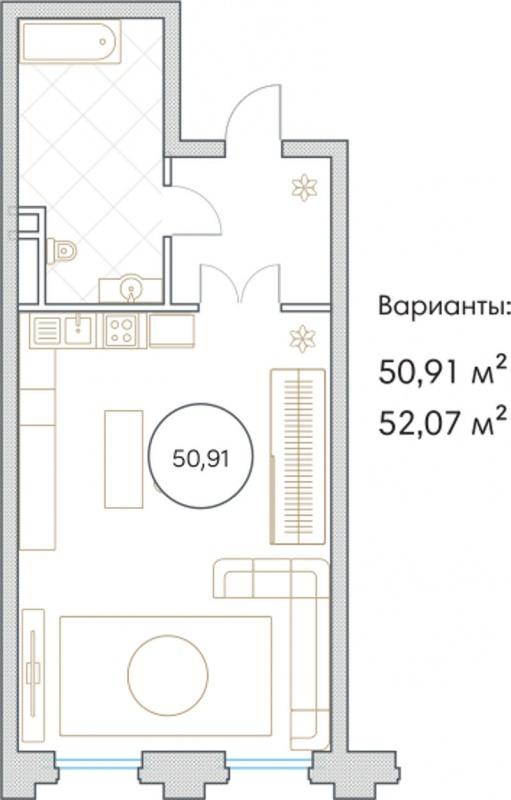 Планировка Однокомнатная квартира площадью 50.91 кв.м в ЖК «Софийский»