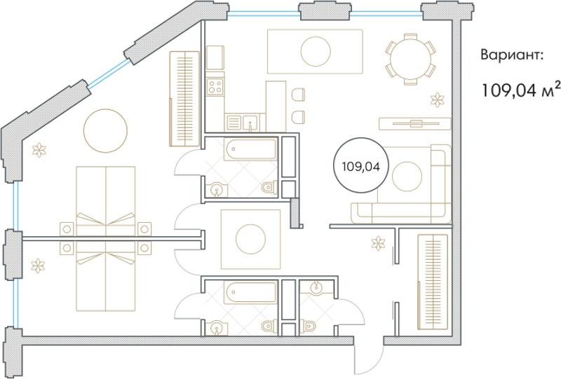 Планировка Трёхкомнатная квартира площадью 109.4 кв.м в ЖК «Софийский»